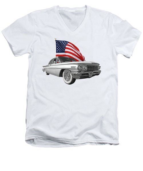 Men's V-Neck T-Shirt featuring the photograph 1960 Oldsmobile With Us Flag by Gill Billington