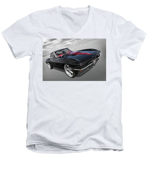 Men's V-Neck T-Shirt featuring the photograph 1963 Corvette Stingray Split Window In Black And Red by Gill Billington