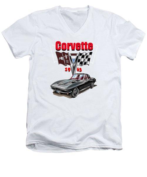 1963 Corvette With Split Rear Window Men's V-Neck T-Shirt by Thomas J Herring