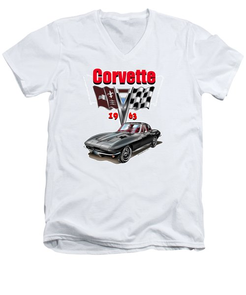 Men's V-Neck T-Shirt featuring the mixed media 1963 Corvette With Split Rear Window by Thomas J Herring