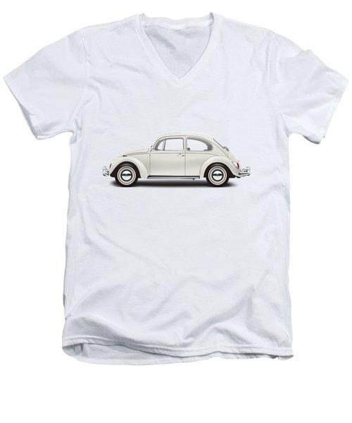 1966 Volkswagen 1300 Sedan - Pearl White Men's V-Neck T-Shirt by Ed Jackson