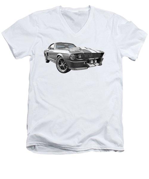 1967 Eleanor Mustang In Black And White Men's V-Neck T-Shirt by Gill Billington