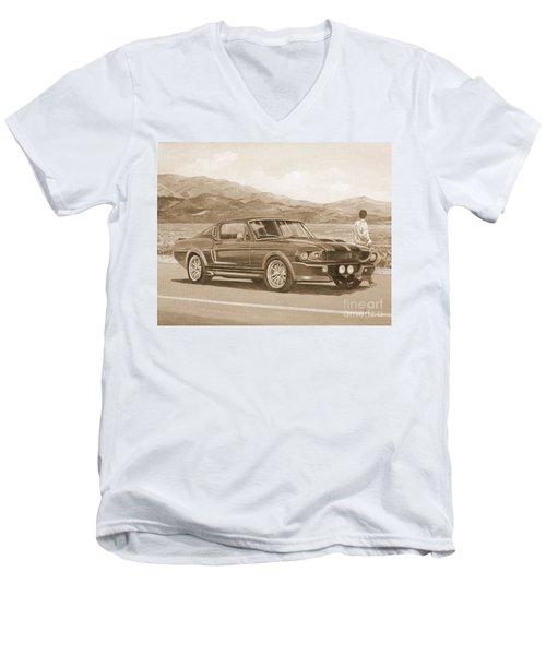 1967 Ford Mustang Fastback In Sepia Men's V-Neck T-Shirt