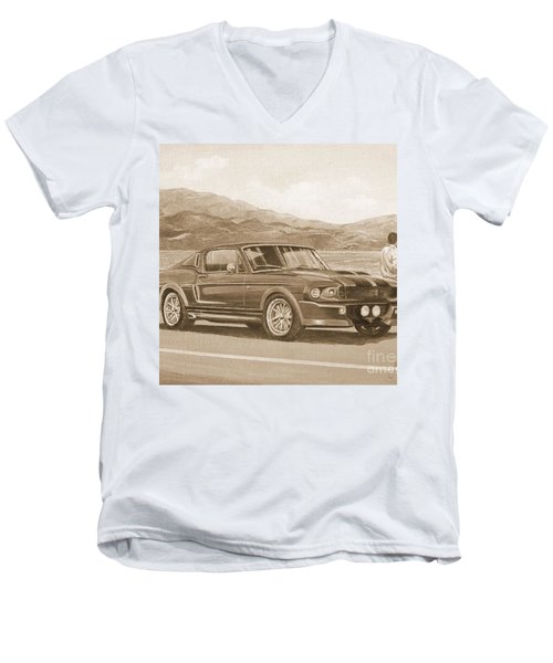 1967 Ford Mustang Fastback In Sepia Men's V-Neck T-Shirt