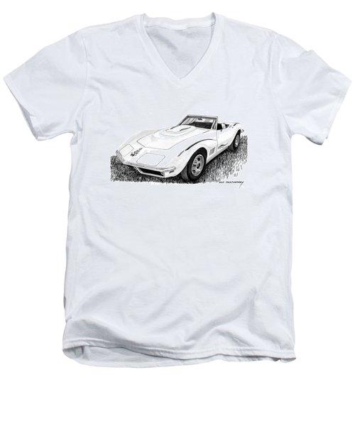1968 Corvette Men's V-Neck T-Shirt by Jack Pumphrey
