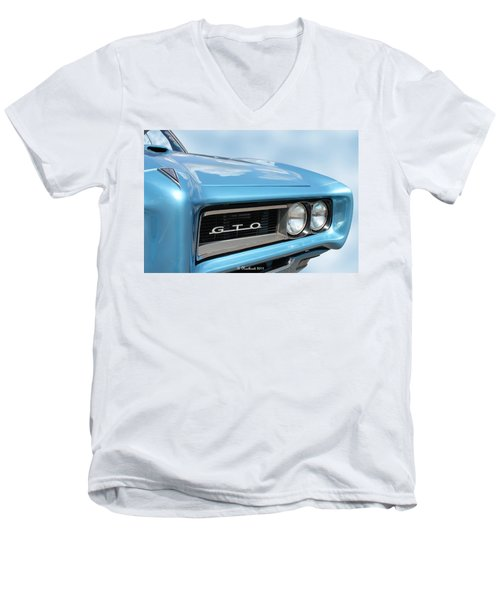 1968 Pontiac Gto Men's V-Neck T-Shirt by Betty Northcutt