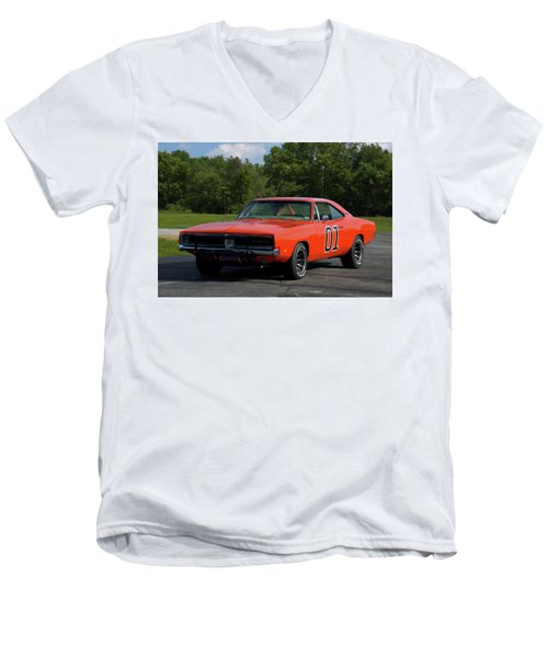 Men's V-Neck T-Shirt featuring the photograph 1969 Dodge Charger Rt by Tim McCullough