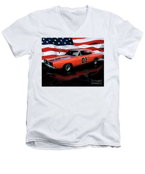 Men's V-Neck T-Shirt featuring the photograph 1969 General Lee by Peter Piatt