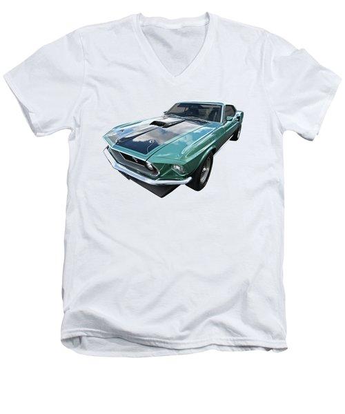 1969 Green 428 Mach 1 Cobra Jet Ford Mustang Men's V-Neck T-Shirt by Gill Billington