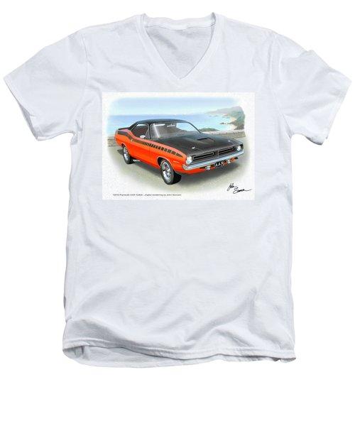 1970 Barracuda Aar  Cuda Classic Muscle Car Men's V-Neck T-Shirt by John Samsen