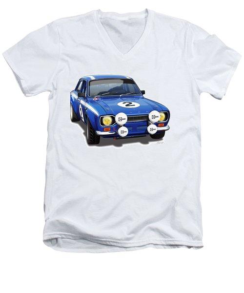 1970 Ford Escort Mexico Illustration Men's V-Neck T-Shirt by Alain Jamar