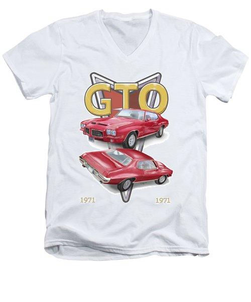 1971 Pontiac Gto Men's V-Neck T-Shirt by Thomas J Herring
