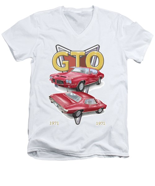 Men's V-Neck T-Shirt featuring the digital art 1971 Pontiac Gto by Thomas J Herring