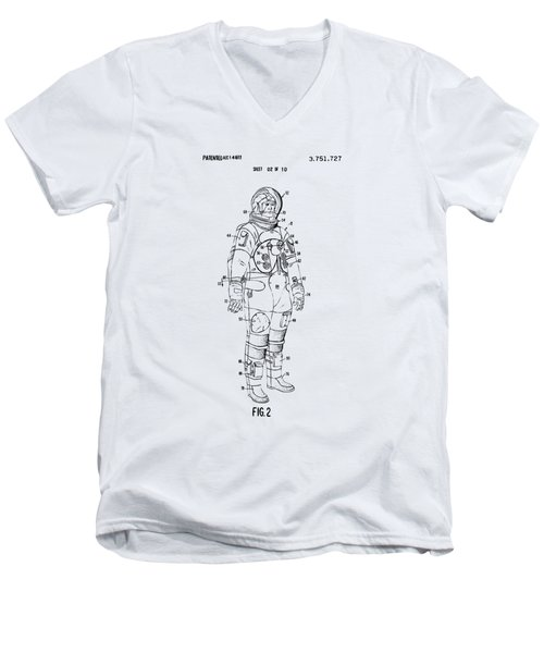 1973 Astronaut Space Suit Patent Artwork - Vintage Men's V-Neck T-Shirt by Nikki Marie Smith