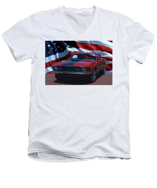 1970 Mustang Mach I Men's V-Neck T-Shirt by Tim McCullough