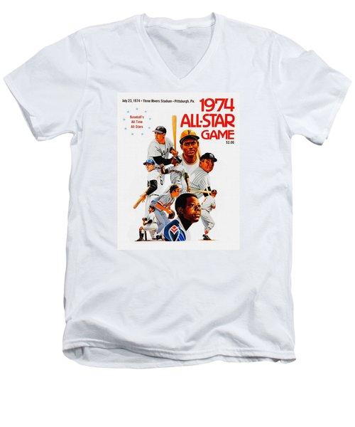 1974 Baseball All Star Game Program Men's V-Neck T-Shirt
