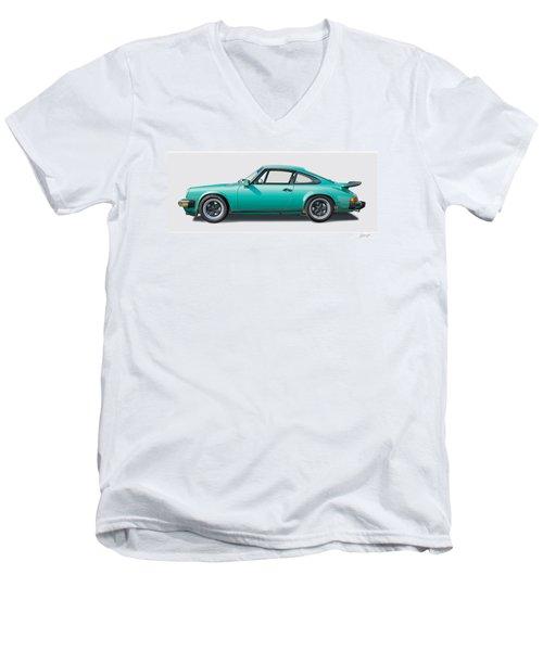 1976 Porsche Euro Carrera 2.7 Illustration Men's V-Neck T-Shirt by Alain Jamar