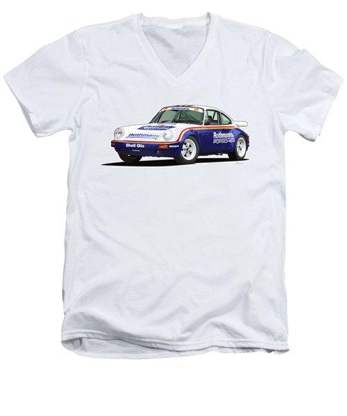 1984 Porsche 911 Sc Rs Illustration Men's V-Neck T-Shirt by Alain Jamar
