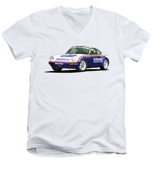 1984 Porsche 911 Sc Rs Illustration Men's V-Neck T-Shirt