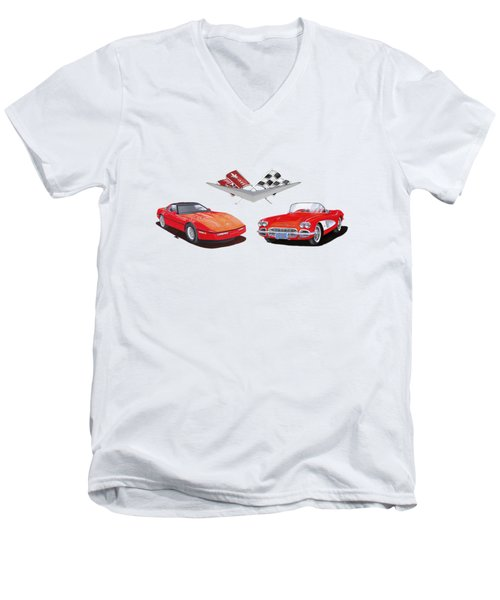 1986 And 1961 Corvettes Men's V-Neck T-Shirt