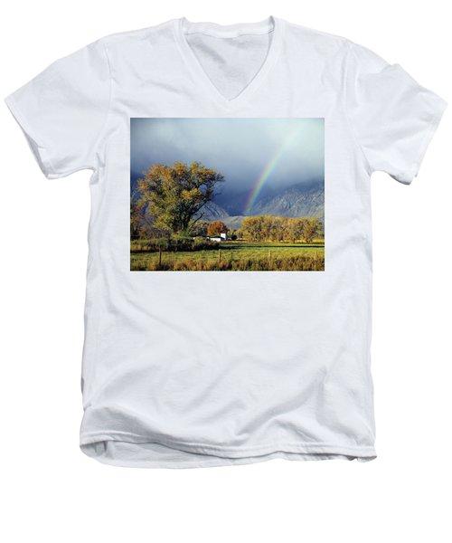 1m6345 Rainbow In Sierras Men's V-Neck T-Shirt