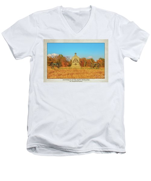 1st New York Battery D Gettysburg Poster Men's V-Neck T-Shirt by Randy Steele