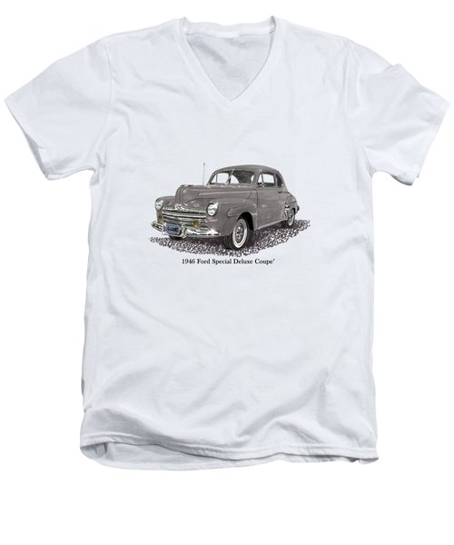 1946 Ford Special Deluxe Coupe Men's V-Neck T-Shirt