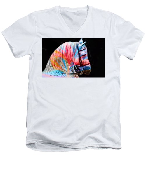 Men's V-Neck T-Shirt featuring the painting Abstract White Horse 19 by J- J- Espinoza