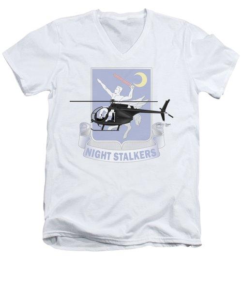 Men's V-Neck T-Shirt featuring the digital art Ah-6j Little Bird Night Stalkers by Arthur Eggers
