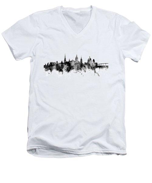Men's V-Neck T-Shirt featuring the digital art Annapolis Maryland Skyline by Michael Tompsett