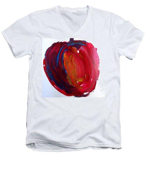 Apple Men's V-Neck T-Shirt by Fred Wilson