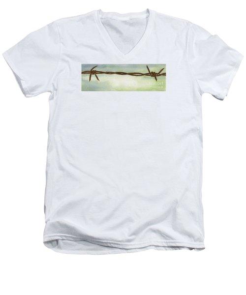 Men's V-Neck T-Shirt featuring the painting Auschwitz by Annemeet Hasidi- van der Leij