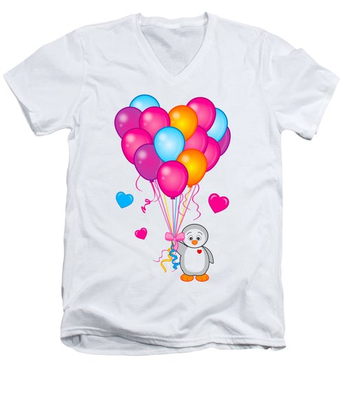 Baby Penguin With Heart Balloons Men's V-Neck T-Shirt by A