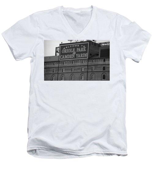 Baltimore Orioles Park At Camden Yards Bw Men's V-Neck T-Shirt