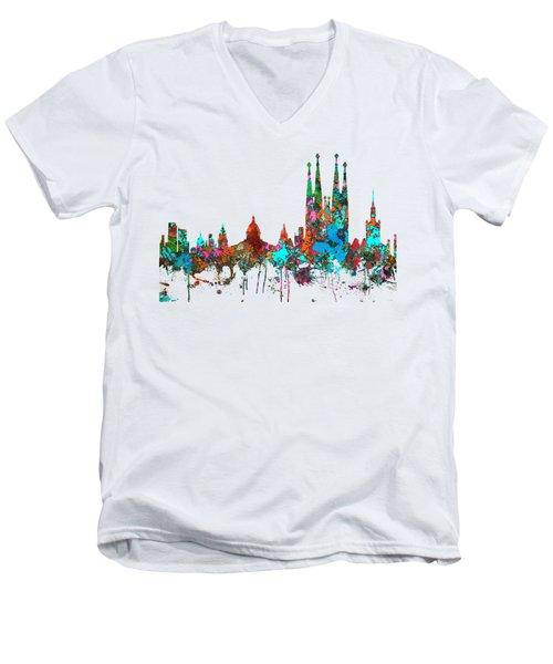 Barcelona Spain Skyline Men's V-Neck T-Shirt