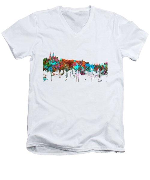 Basle Switzerland Skyline Men's V-Neck T-Shirt by Marlene Watson