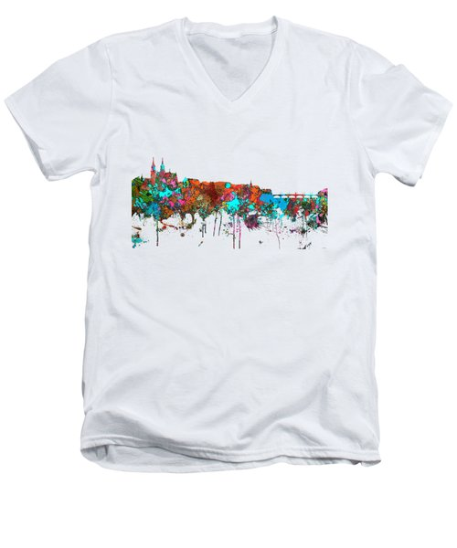 Basle Switzerland Skyline Men's V-Neck T-Shirt