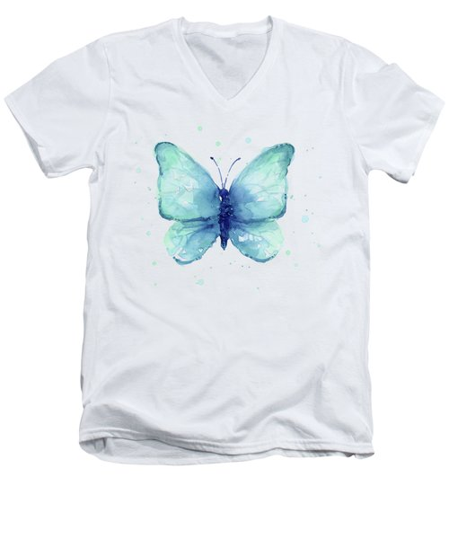 Blue Butterfly Watercolor Men's V-Neck T-Shirt