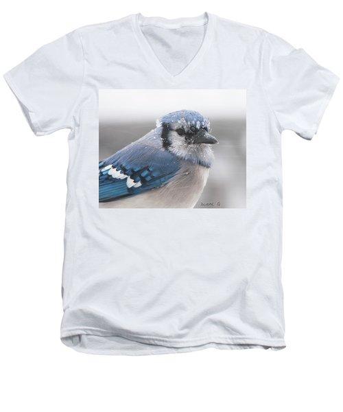 Blue Jay In A Blizzard Men's V-Neck T-Shirt