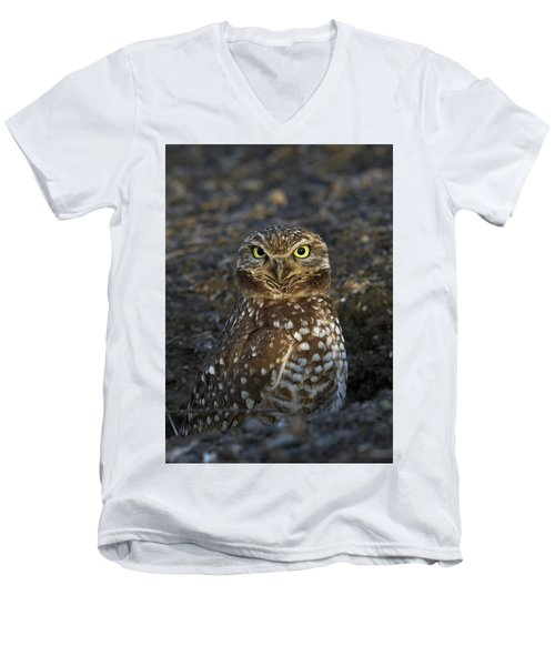 Men's V-Neck T-Shirt featuring the photograph Burrowing Owl by Doug Herr