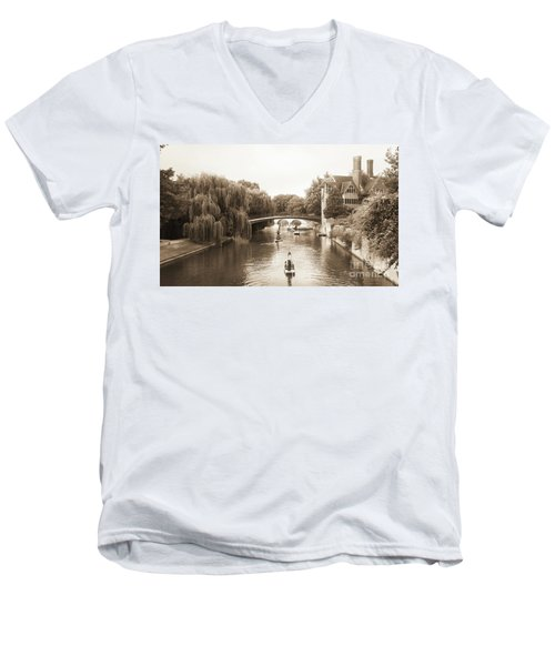 Cambridge River Punting Men's V-Neck T-Shirt by Eden Baed