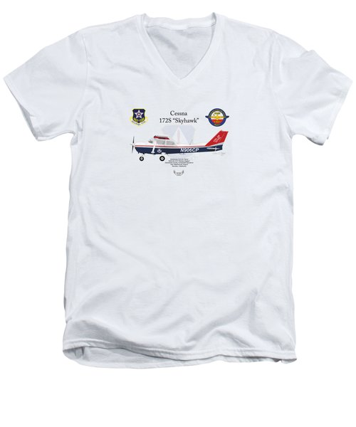 Cessna 172s Skyhawk Men's V-Neck T-Shirt by Arthur Eggers