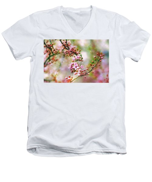 Men's V-Neck T-Shirt featuring the photograph Cherry Blossoms In Spring by Peggy Collins