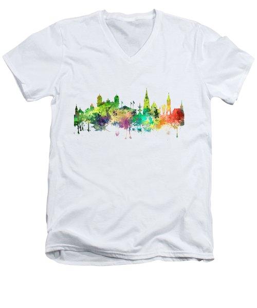 Christchurch Nz Skyline Men's V-Neck T-Shirt by Marlene Watson
