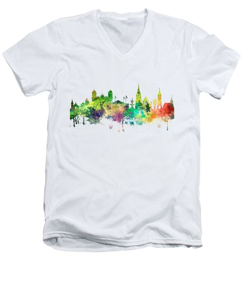 Christchurch Nz Skyline Men's V-Neck T-Shirt