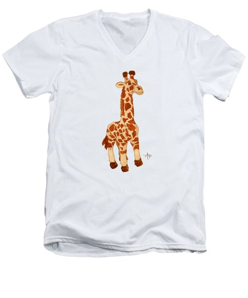 Cuddly Giraffe Men's V-Neck T-Shirt by Angeles M Pomata