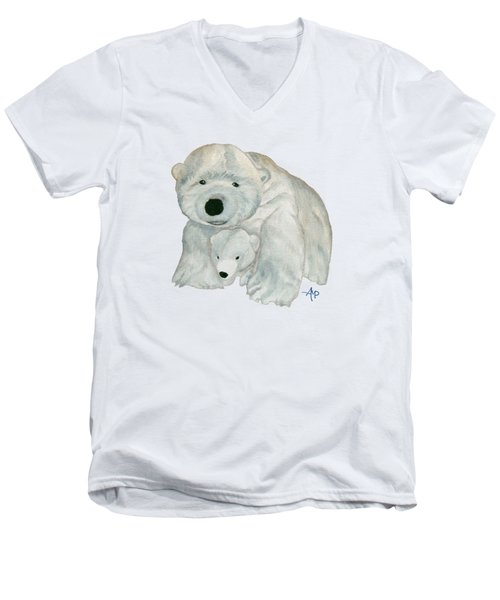 Cuddly Polar Bear Men's V-Neck T-Shirt by Angeles M Pomata