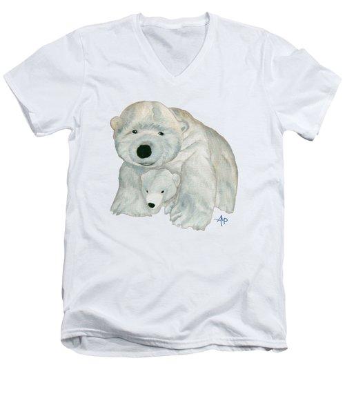 Cuddly Polar Bear Men's V-Neck T-Shirt
