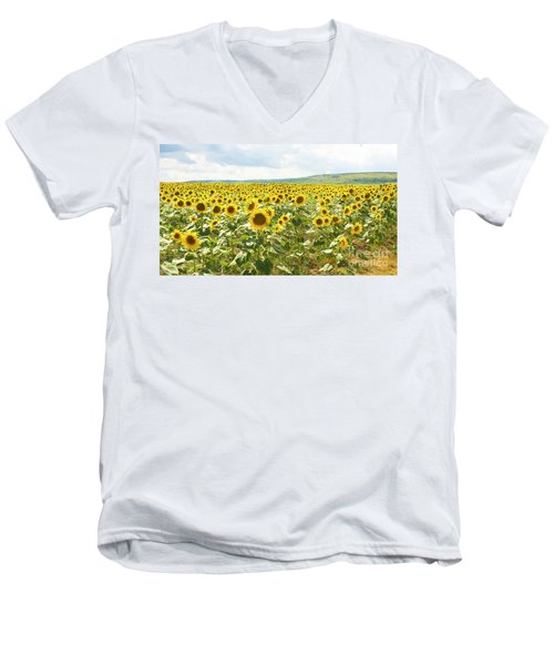 Field With Sunflowers Men's V-Neck T-Shirt by Irina Afonskaya