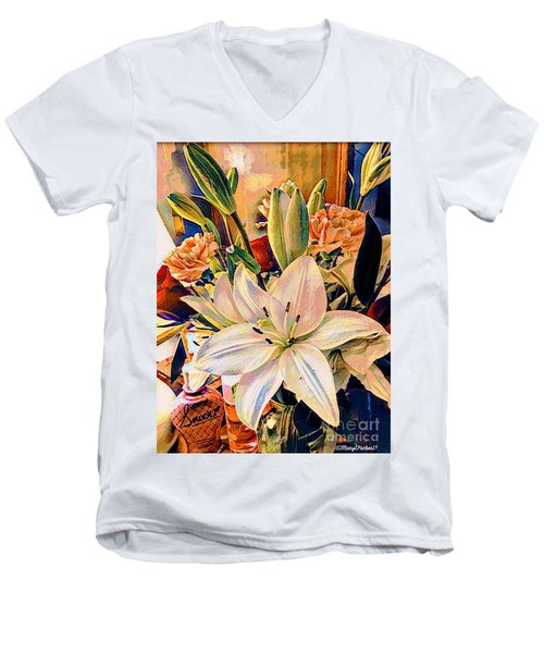 Flowers For You Men's V-Neck T-Shirt by MaryLee Parker